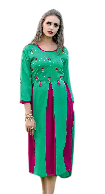 SMC MADHURI 01-D NO 4 FULL SLEEVES RAYON KURTI