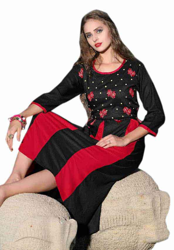 SMC MADHURI 01-D NO 6 FULL SLEEVES RAYON KURTI