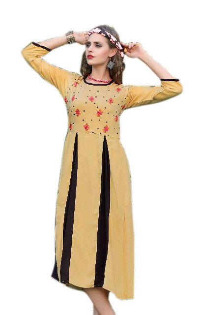 SMC MADHURI 01-D NO 7 FULL SLEEVES RAYON KURTI