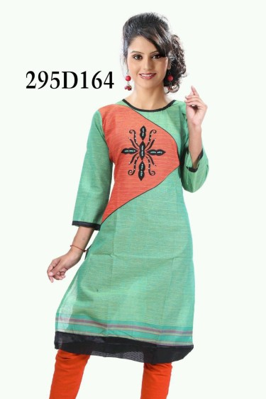 Green & Orange Cotton Kurti - 295 D164