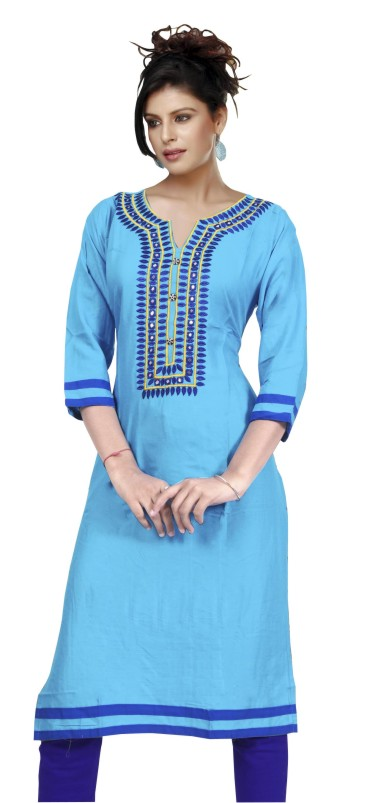 MCA DOVE 3 - 1002 Sky Blue Stitched Kurti
