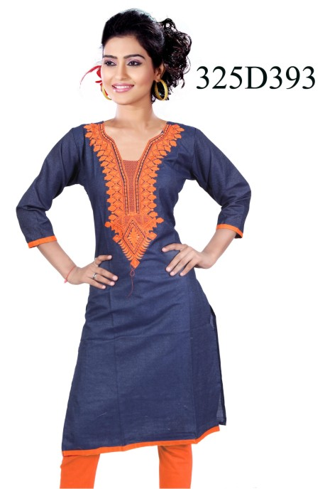 MCA325 D393 V - Orange Stiched Kurti