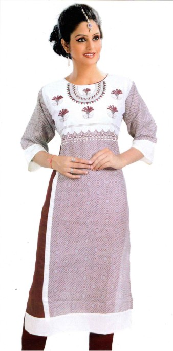 MCA425 D443 - Maroon Cotton Stitched Kurti