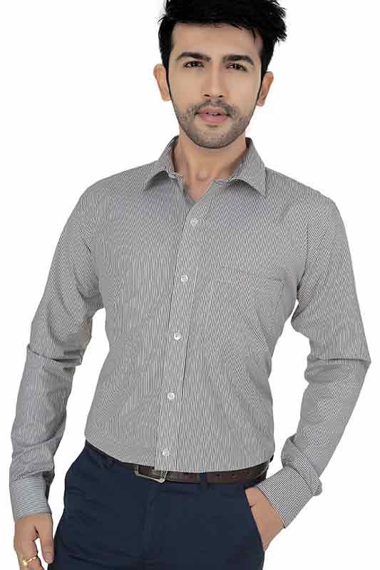 White & Black Stripes Formal Shirt