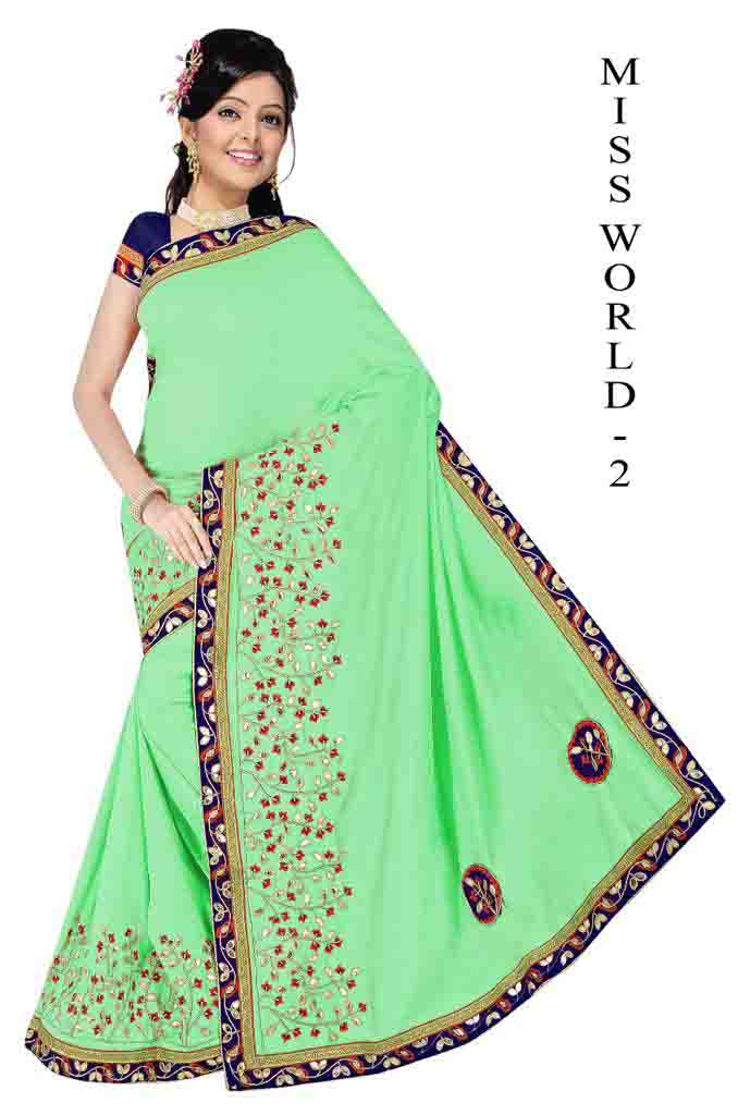WOMEN SAREE WITH BLOUSE-PARROT GREEN-DF MISS WORD 01