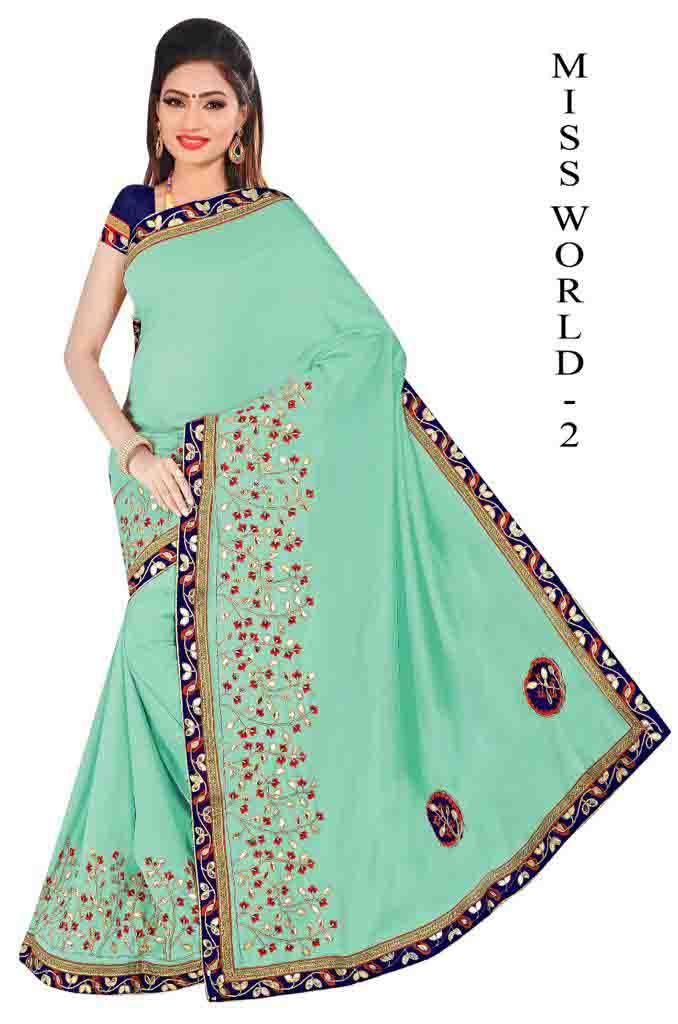 WOMEN SAREE WITH BLOUSE-SEA GREEN-DF MISS WORD 01