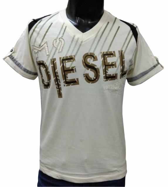 MT DIESEL - Cream V-neck T-shirt