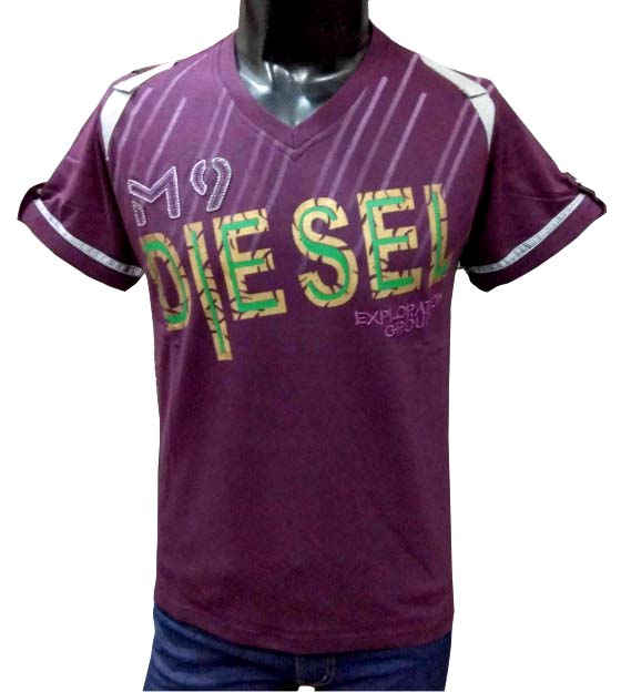 MT DIESEL - Magenta V-neck T-shirt