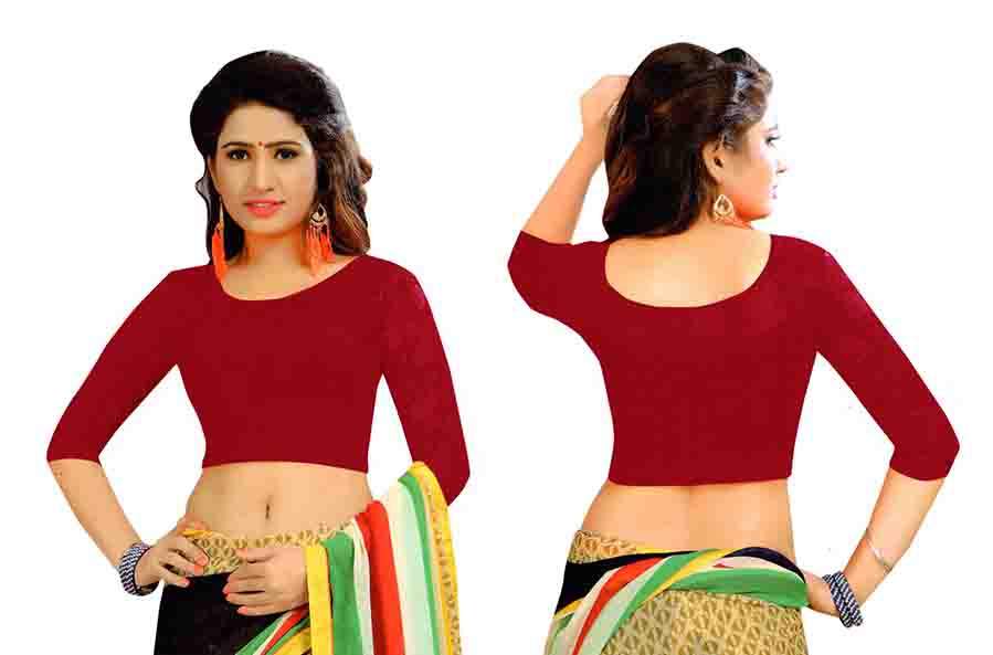 FANCY HC-152-MAHROON 3/4 SLEEVES STRETCHABLE FANCY SAREE BLOUSE