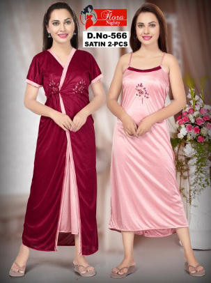 SATIN TWO PIECE NIGHTY-MAHROON-KC JUNE 566