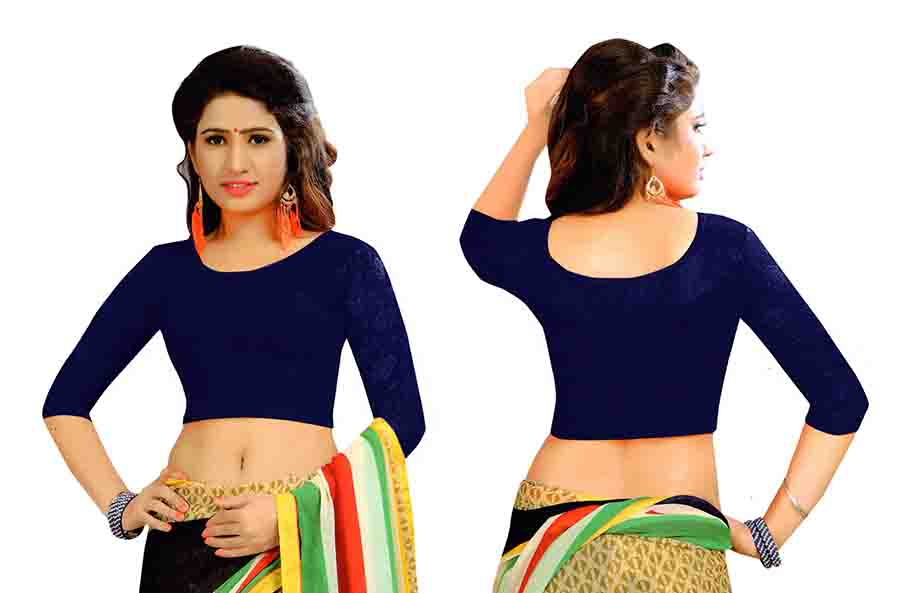 FANCY HC-152-NAVY BLUE 3/4 SLEEVES STRETCHABLE FANCY SAREE BLOUSE