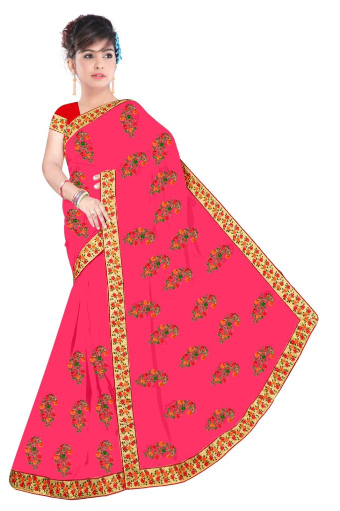 WOMEN SAREE WITH BLOUSE-PINK-DF NIDHIWAN 2019