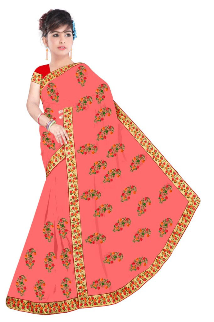 WOMEN SAREE WITH BLOUSE-CARROT-DF NIDHIWAN 2019