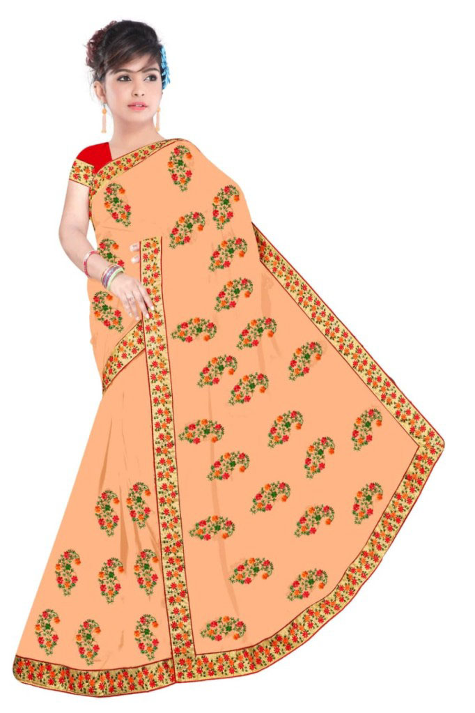 WOMEN SAREE WITH BLOUSE-PEACH-DF NIDHIWAN 2019
