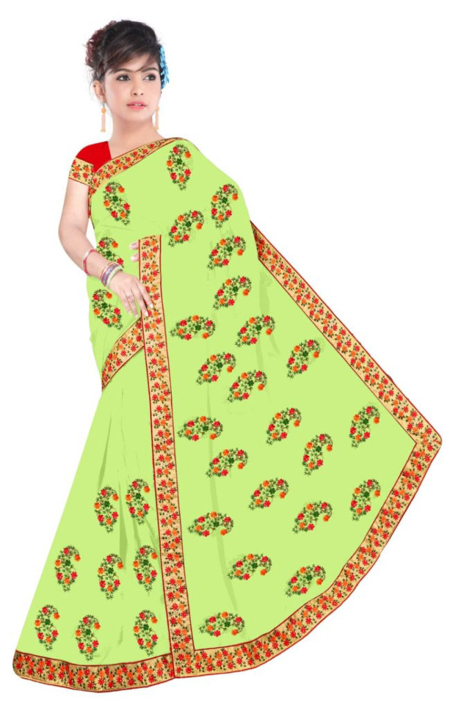 WOMEN SAREE WITH BLOUSE-PARROT GREEN-DF NIDHIWAN 2019