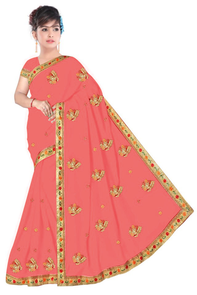 WOMEN SAREE WITH BLOUSE-CARROT-DF NENSI 2019