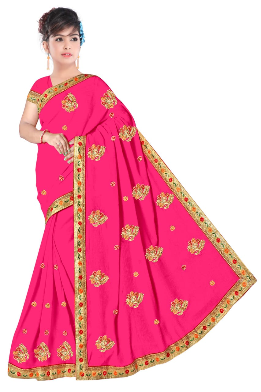 WOMEN SAREE WITH BLOUSE-ROSE PINK-DF NENSI 2019