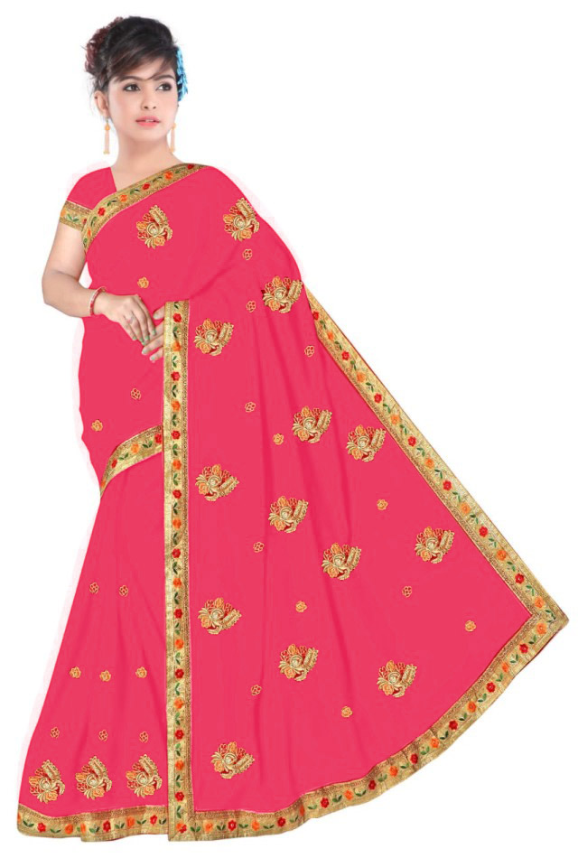 WOMEN SAREE WITH BLOUSE-LIGHT PINK-DF NENSI 2019