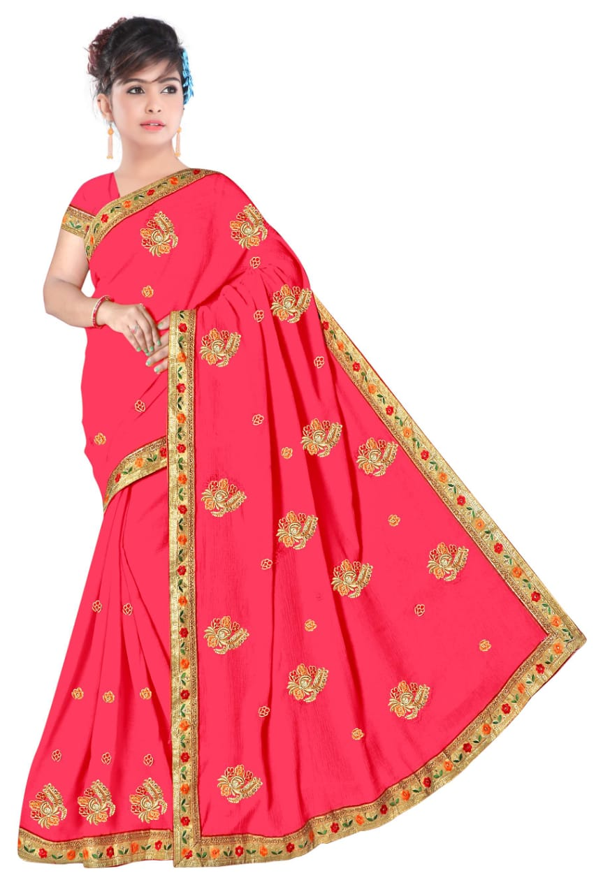 WOMEN SAREE WITH BLOUSE-PINK-DF NENSI 2019