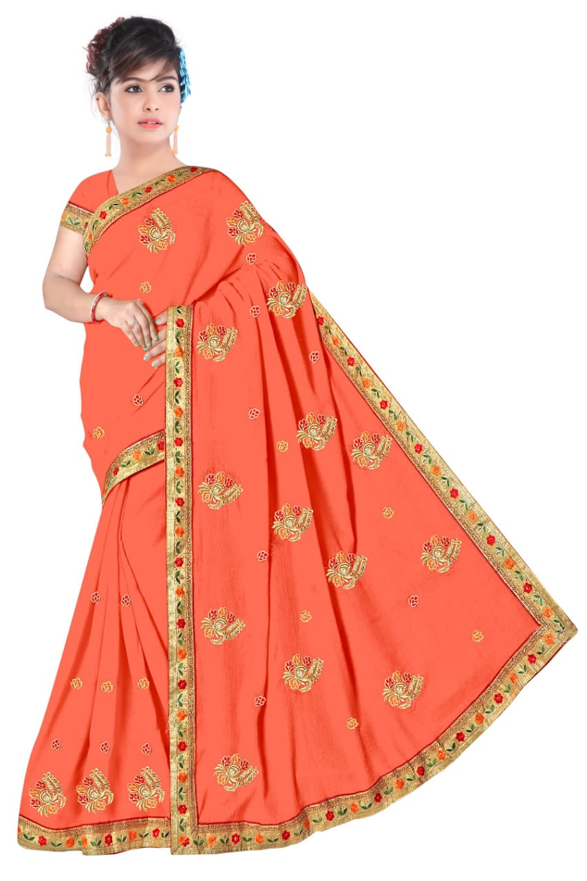 WOMEN SAREE WITH BLOUSE-PEACH-DF NENSI 2019