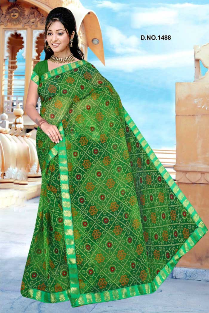 WOMEN SAREE WITH BLOUSE-GREEN-DF ORANGE 01