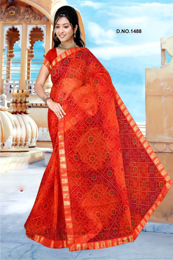 WOMEN SAREE WITH BLOUSE-RED-DF ORANGE 01