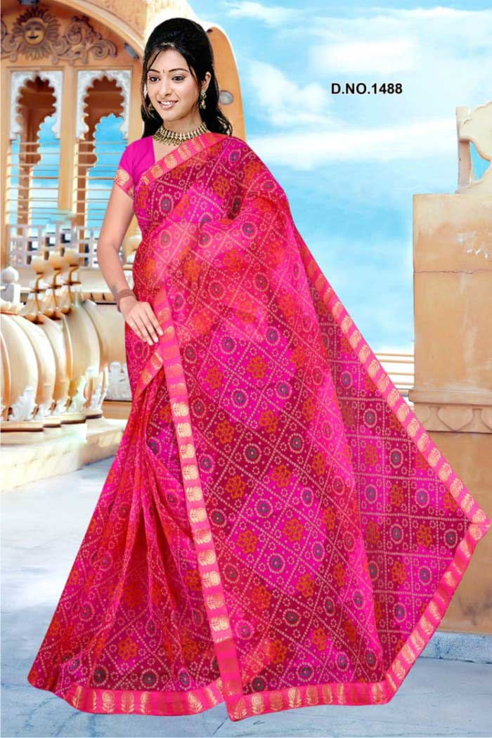 WOMEN SAREE WITH BLOUSE-PINK-DF ORANGE 01