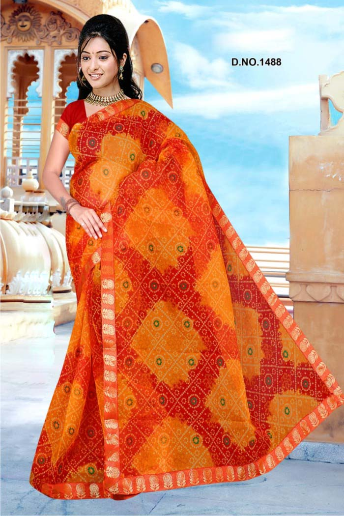 WOMEN SAREE WITH BLOUSE-ORANGE-DF ORANGE 01