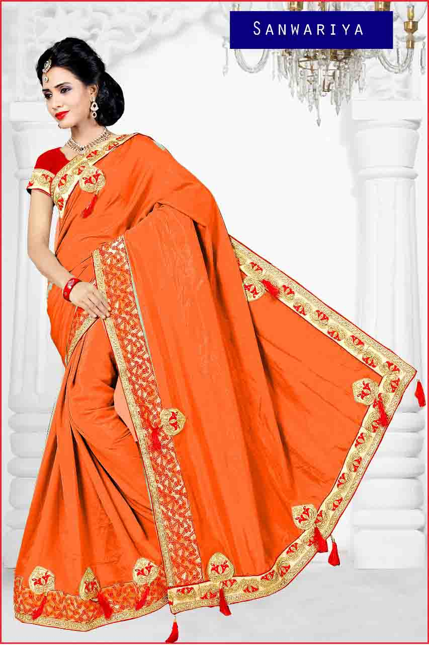 WOMEN SAREE WITH BLOUSE-ORANGE-DF APL SANWARIYA