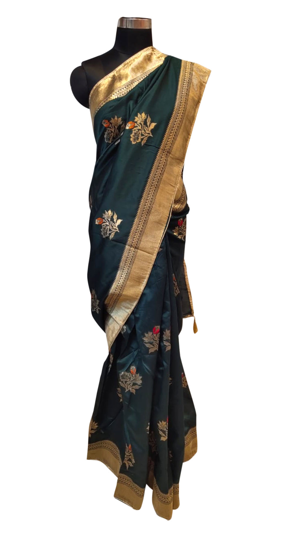 WOMEN SAREE WITH BLOUSE-DARK GREEN-DF JACQUARD 02 2019
