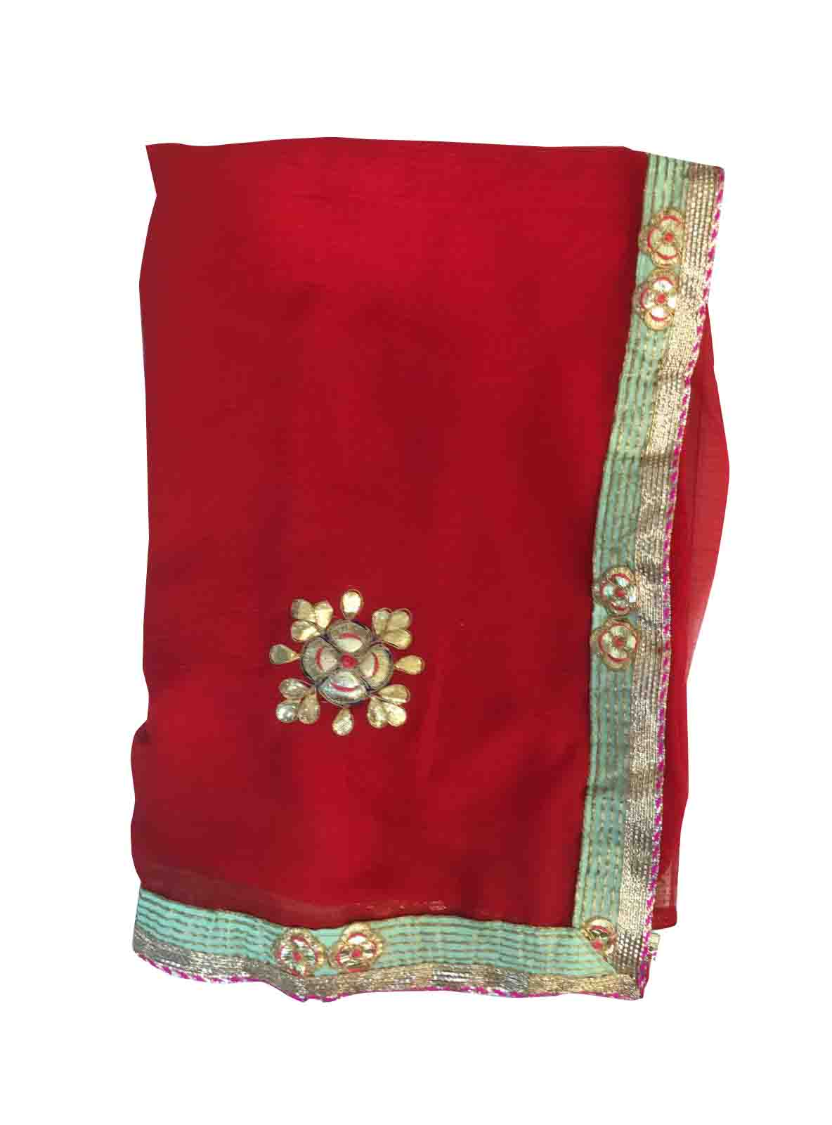 WOMEN SAREE WITH BLOUSE-RED-DF PANKHA