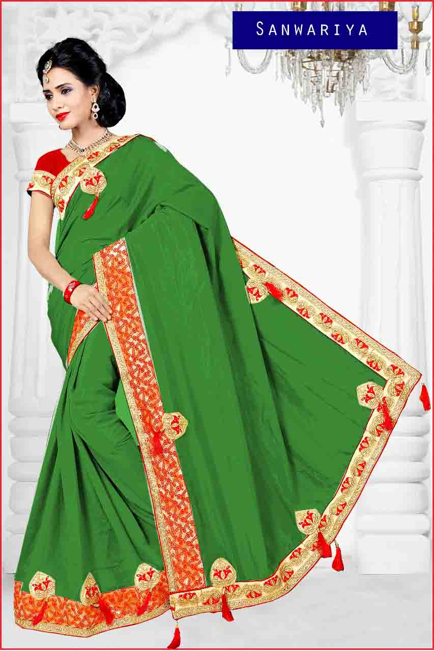 WOMEN SAREE WITH BLOUSE-PARROT GREEN-DF APL SANWARIYA