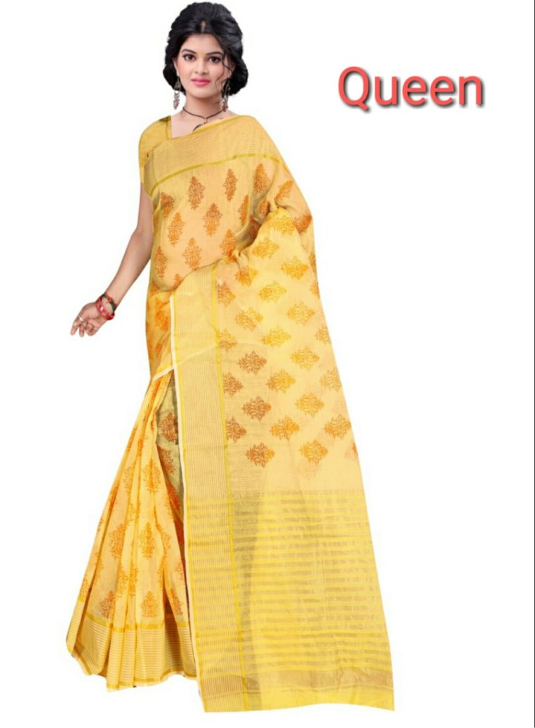 WOMEN SAREE WITH BLOUSE-YELLOW-DF QUEEN 001