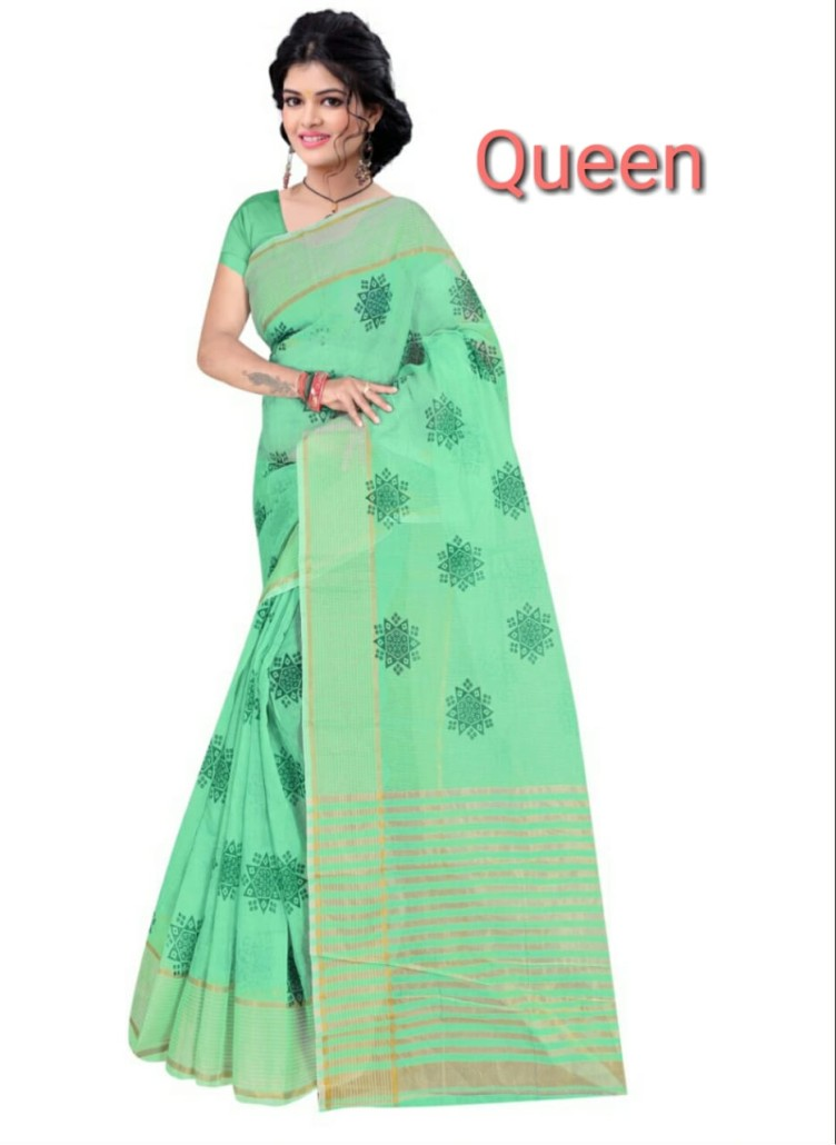 WOMEN SAREE WITH BLOUSE-SEA GREEN-DF QUEEN 002