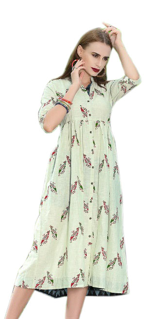 SMC RABTA 01-D NO 7 STYLISH COTTON LINEN KURTI