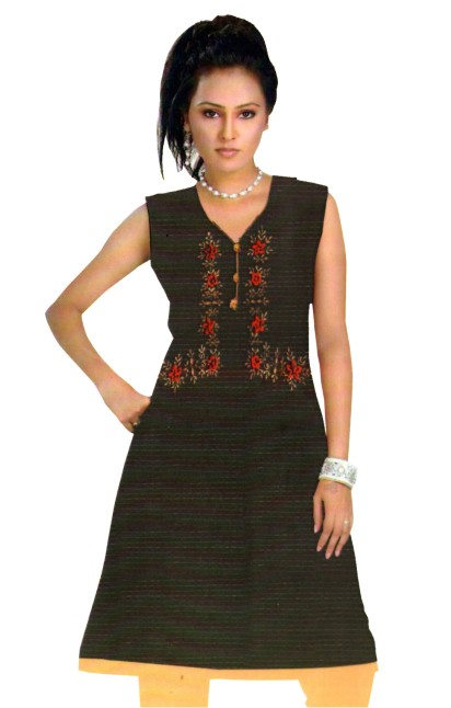 RAGHINI 10639 - Black Cotton Stitched Kurti