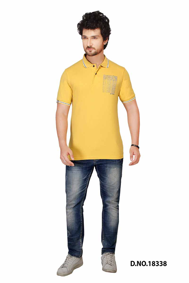 RE CROSS PRINT-MANGO GOLD POLO T SHIRT