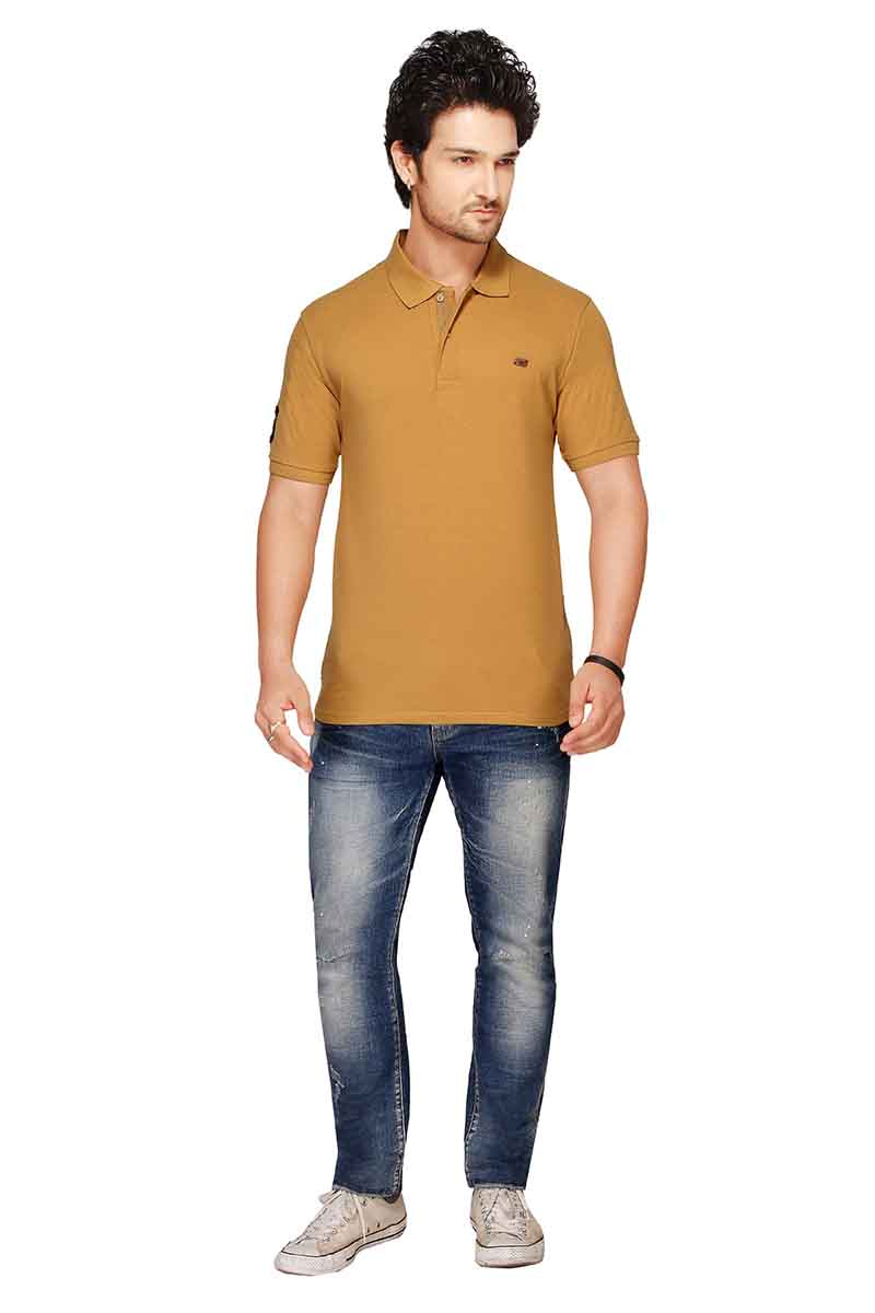 RE FPT 2-KHAKI POLO T SHIRT