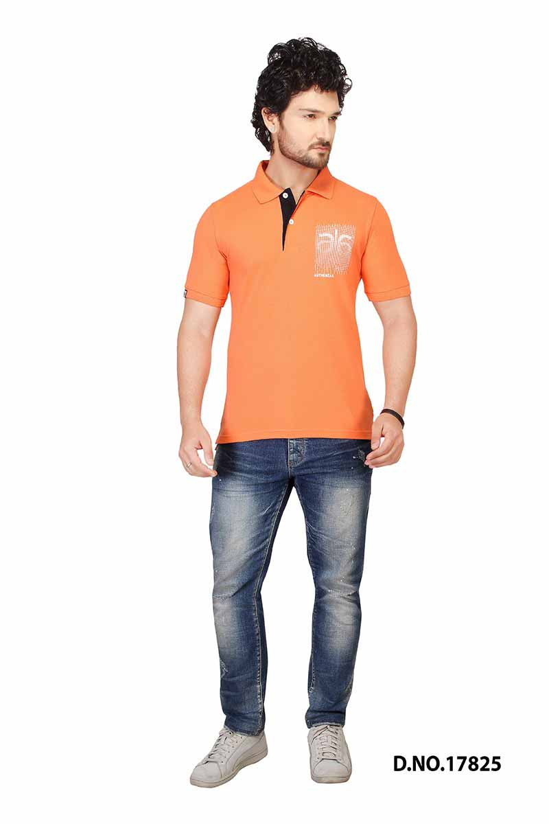 RE FPT 3-ORANGE/PEACH POLO T SHIRT
