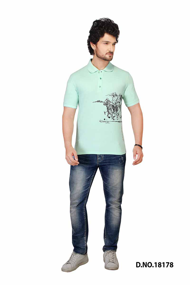 RE FPT HORSE-SEA GREEN POLO T SHIRT