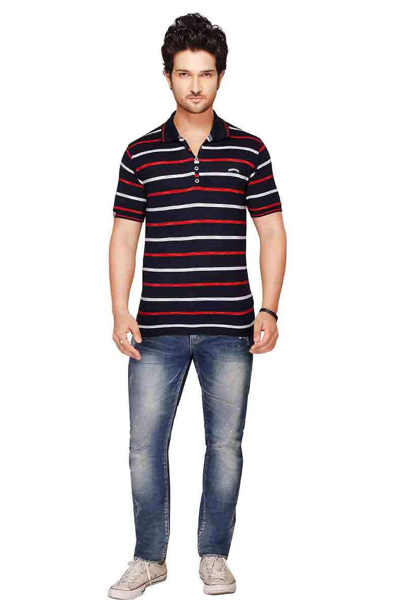 RE STRIPE D 19-BLUE POLO T SHIRT
