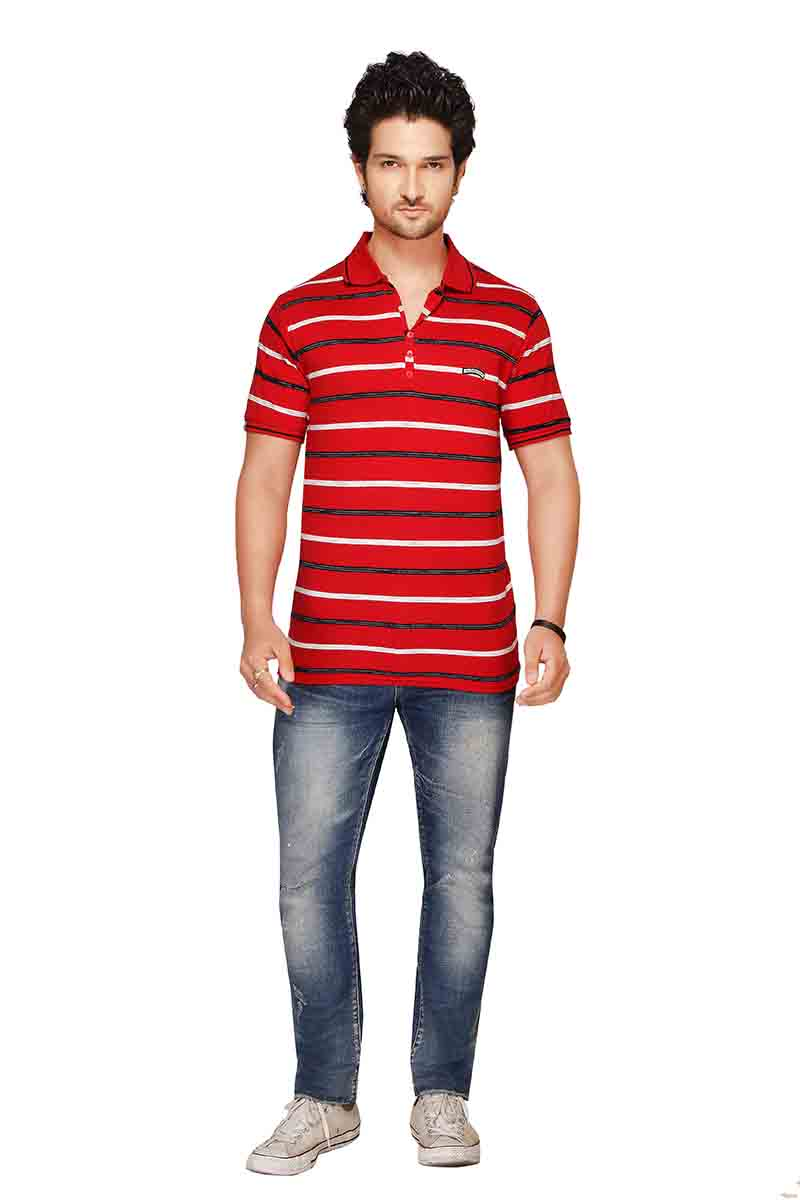 RE STRIPE D 19-RED POLO T SHIRT
