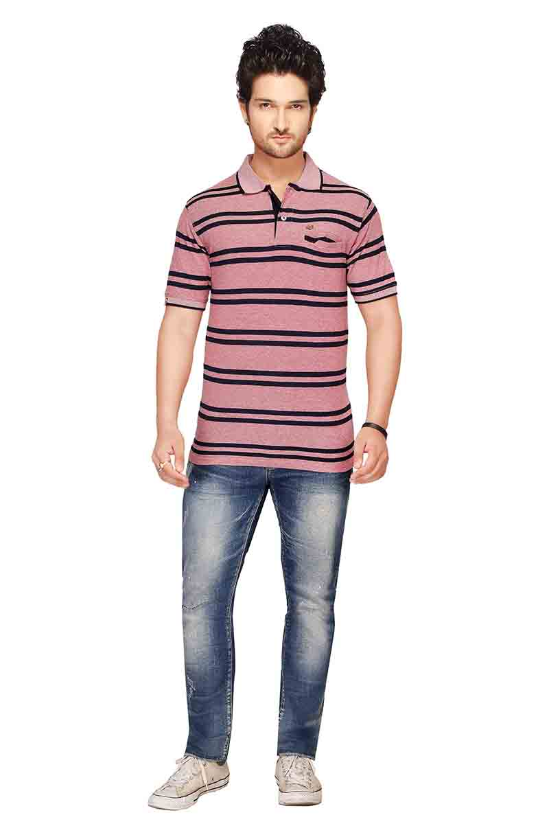 RE STRIPE D 20-NAVY PINK POLO T SHIRT WITH POCKET