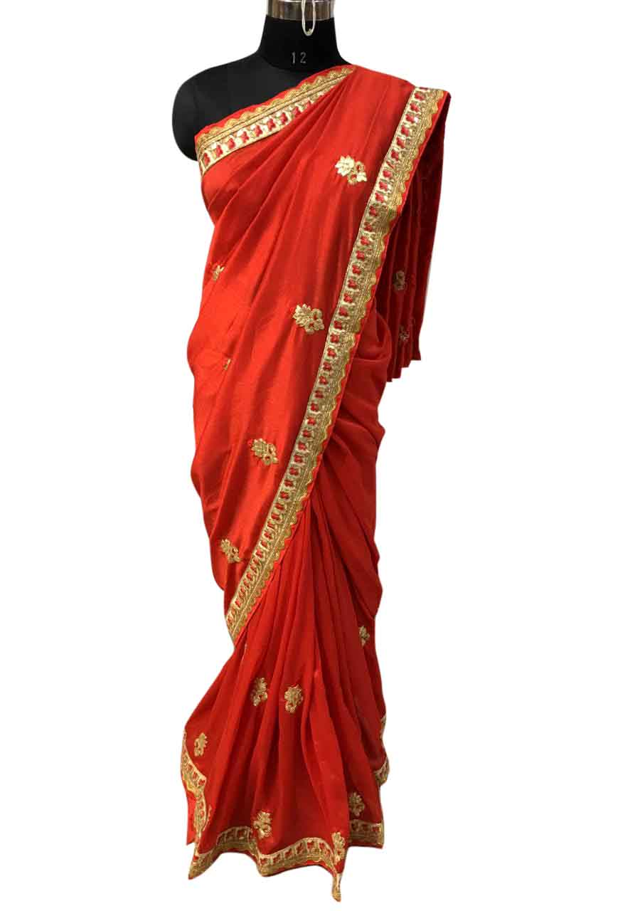 WOMEN SAREE WITH BLOUSE-RED-DF RESHAM BUTTI 05