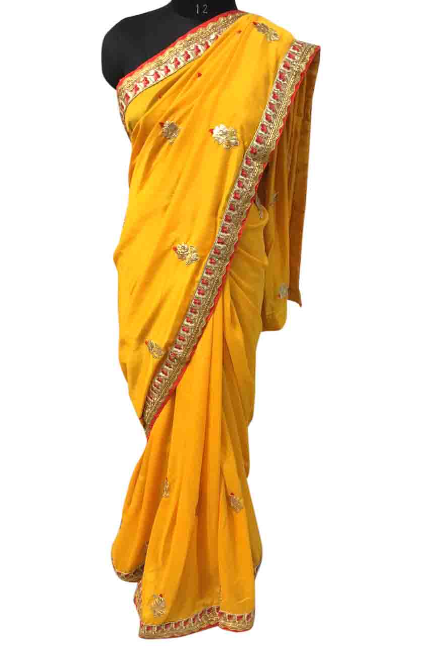 WOMEN SAREE WITH BLOUSE-YELLOW-DF RESHAM BUTTI 05