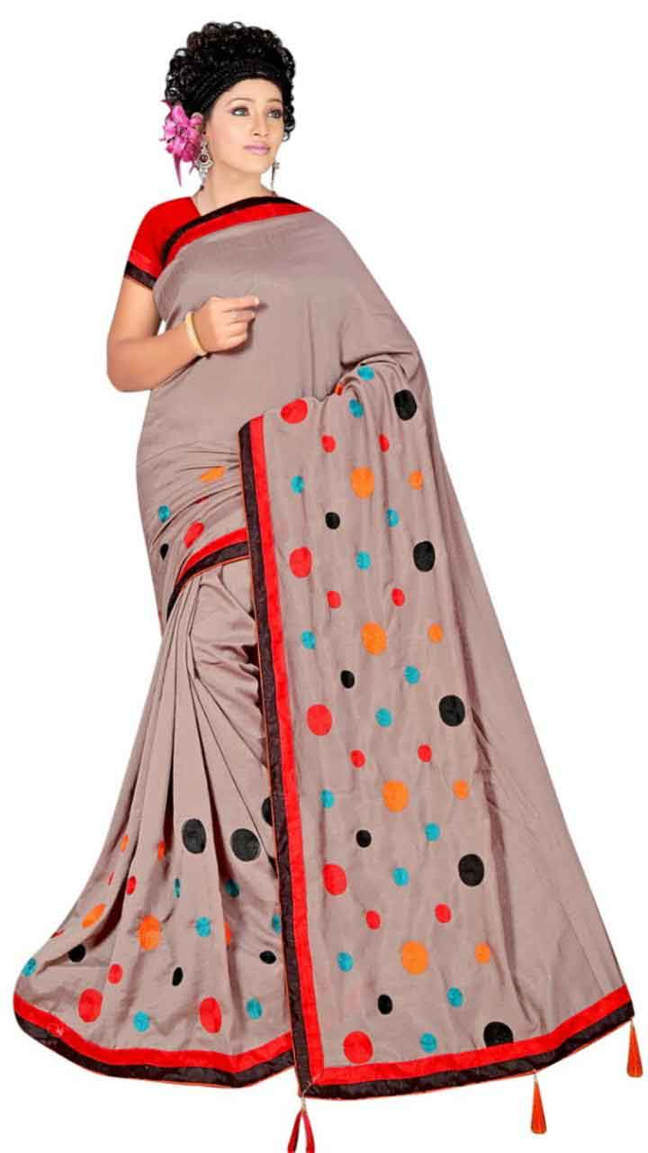 WOMEN SAREE WITH BLOUSE-GRAY-DF RIDDHI CIRCLE