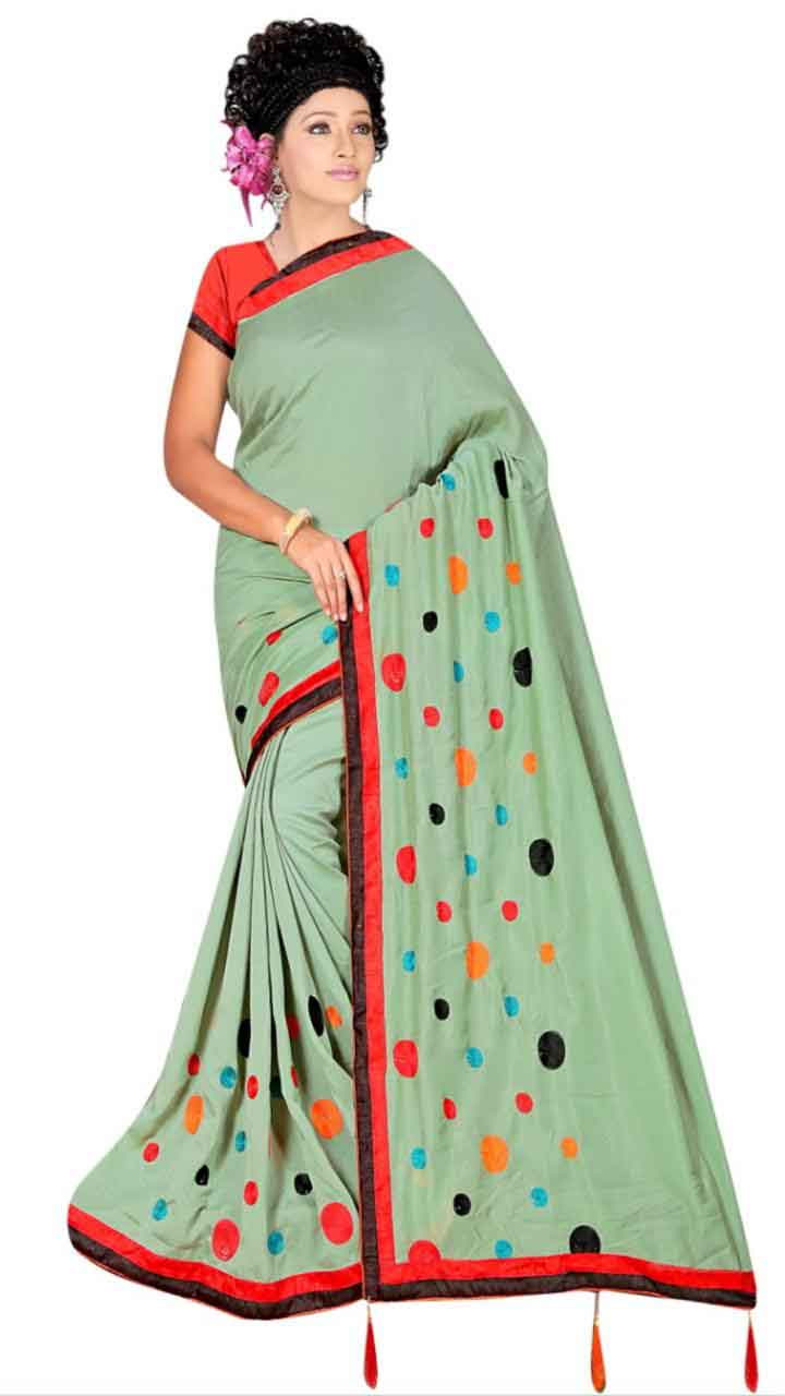 WOMEN SAREE WITH BLOUSE-GREEN-DF RIDDHI CIRCLE