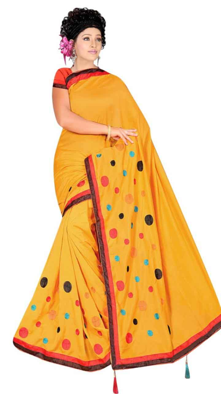 WOMEN SAREE WITH BLOUSE-YELLOW-DF RIDDHI CIRCLE