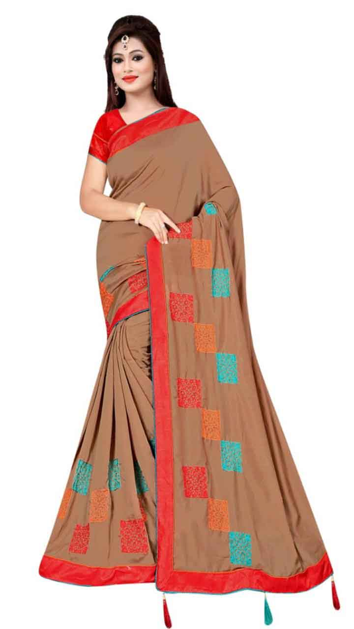 WOMEN SAREE WITH BLOUSE-BROWN-DF RIDDHI SQUARE