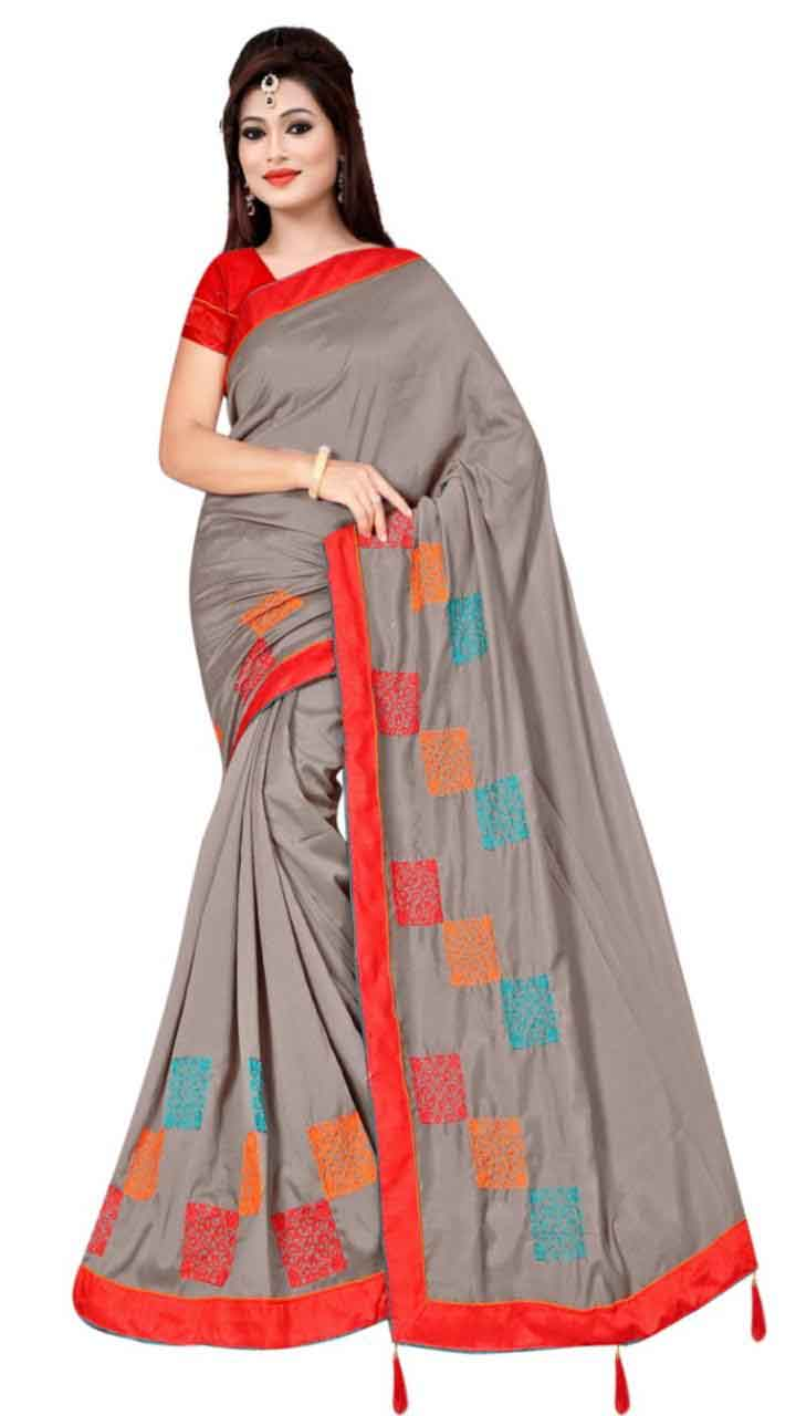 WOMEN SAREE WITH BLOUSE-GRAY-DF RIDDHI SQUARE